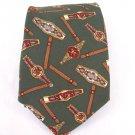 Tommy Hilfiger monogram green 100% Silk mens neck Tie