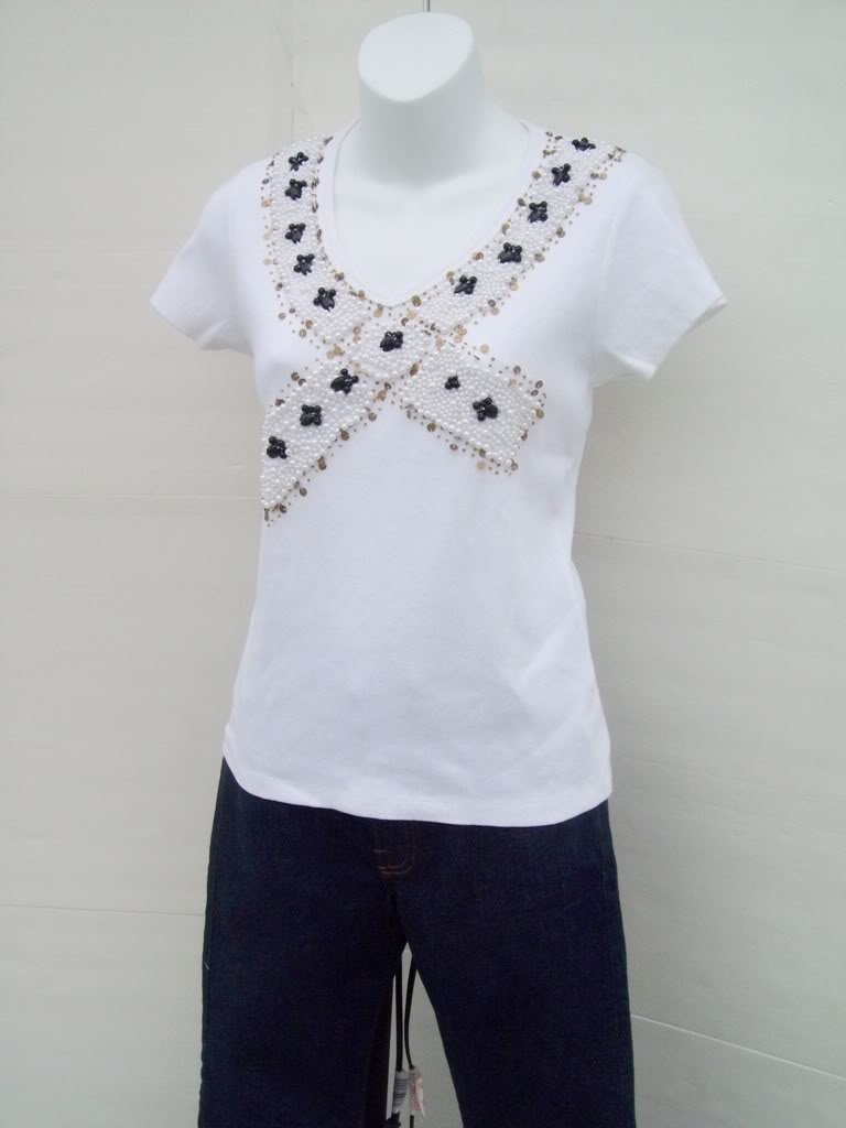 KENAR faux pearl Embellished V neck knit tee Top size M