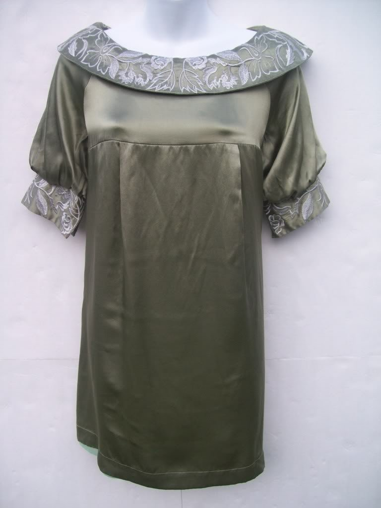 Elie Tahari embroidered silk swing dress size 6