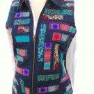 Coldwater creek patch sleeveless jeans denim zip jacket vest size S