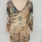 Coldwater Creek Fern print V neck 3/4 Sleeve Top plus size 2X