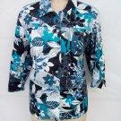 Coldwater Creek print snap button 3/4 sleeve jacket plus size 2X