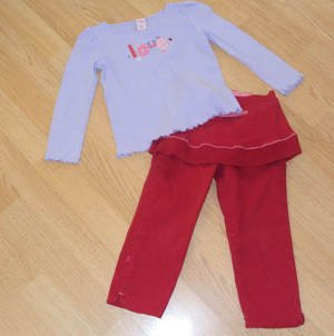 Cute! 2 pc Outfit Red Skirt with leggings Purple Shirt