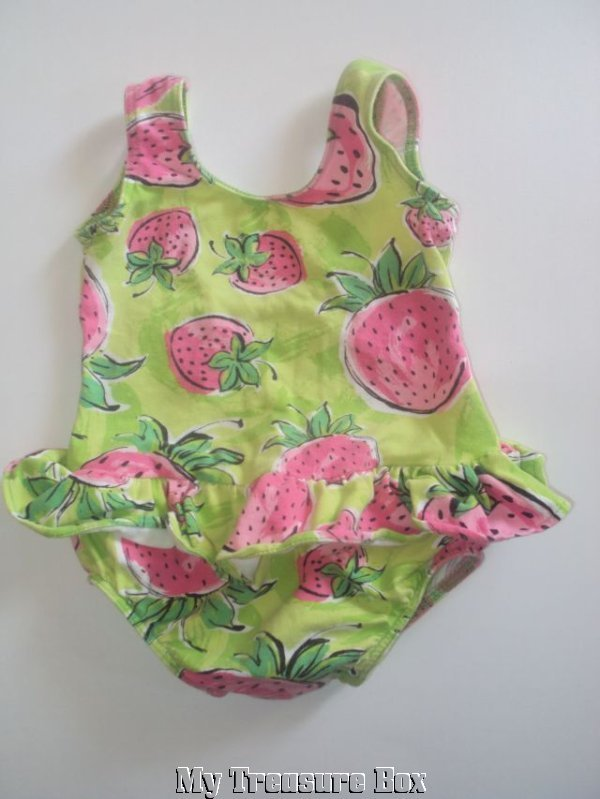 TALBOTS 9 M Strawberry Lime Green ONE PIECE Swim Suit