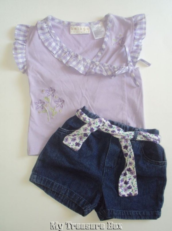 BABY BELUGA TOP & DENIM SHORTS 4T SUMMER OUTFIT
