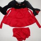 THOMAS 3 6 M Fancy Black Red Silk Dress ~ EUC!!