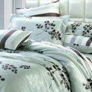 4-pc Elegant Light Green Floral Tencel Duvet Cover Bedding Set