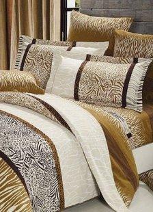 4-pc Elegant Brown Stripe Thicken Woolens Cotton Duvet Cover Bedding Set
