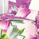 Beautiful Rose Cotton 4-Pc Tulips Printed Bedding Set