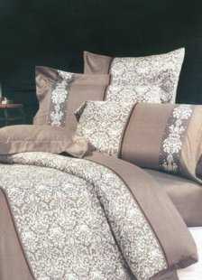 4-pc Grey Jacquard Floral Satin Drill Duvet Cover Bedding Set