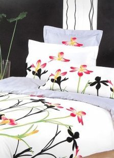 4-pc Beautiful White Floral Satin Drill Duvet Cover Bedding Set