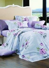4-pc Romantic Light Blue Colored Cotton Duvet Cover Bedding Set