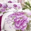 4-pc Beautiful White And Purple Cotton Floral Reactive Print Duvet Cover