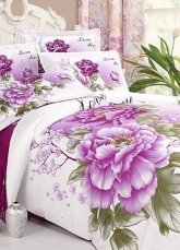 4-pc Beautiful White And Purple Cotton Floral Reactive Print Duvet Cover