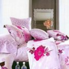 Cotton 4-pcs Bedding Set Pink Flower Printed