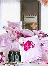Cotton 4-pcs Bedding Set Pink Flower Printed