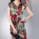 Pretty Green And Red Floral Print Meryl V-neck Womens Dress