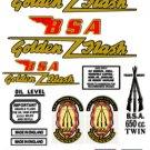 BSA Golden Flash Decals: 1950-57: BSA A10 DecalSet