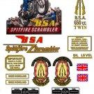 BSA Spitfire Scrambler Decals: 1956-64:  A10S DecalSet