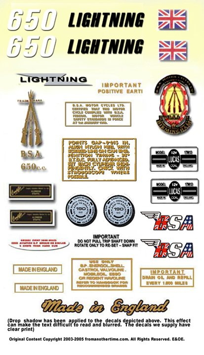 1970: BSA LIGHTNING - RESTORERS DECALSET - BSA A65L  Stickers (Adhesive Transfers)