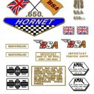 1968: A65H - DECAL SET - BSA  Hornet