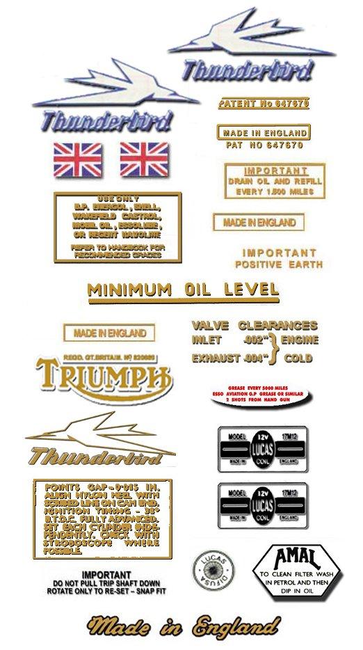 1963-66: Thunderbird - DECAL SET - Triumph 6T Stickers (Adhesive Transfers)