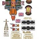 1958-63:  BSA Big Valve Super Rocket Decals - A10 Super Rocket Decal set
