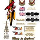 1954-55:  BSA Road Rocket Decals - A10RR Decal set