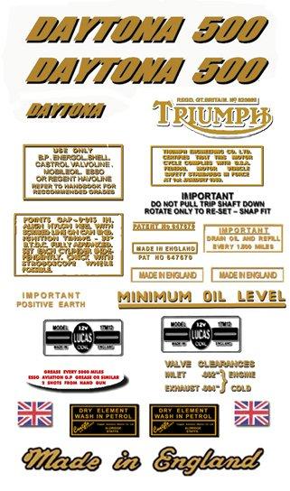 1973-74: T100R -DECAL SET- Triumph Daytona Decals