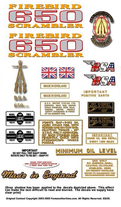 1970: A65 FS - BSA FIREBIRD SCRAMBLER DECALS - Set