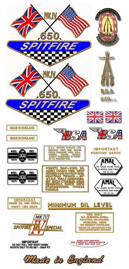 1968: A65S - BSA Spitfire Decals - MK4