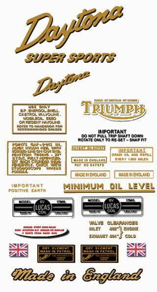 1961-63: Triumph Daytona Super Sports  Decals - Daytona T100SS Restorers Decals