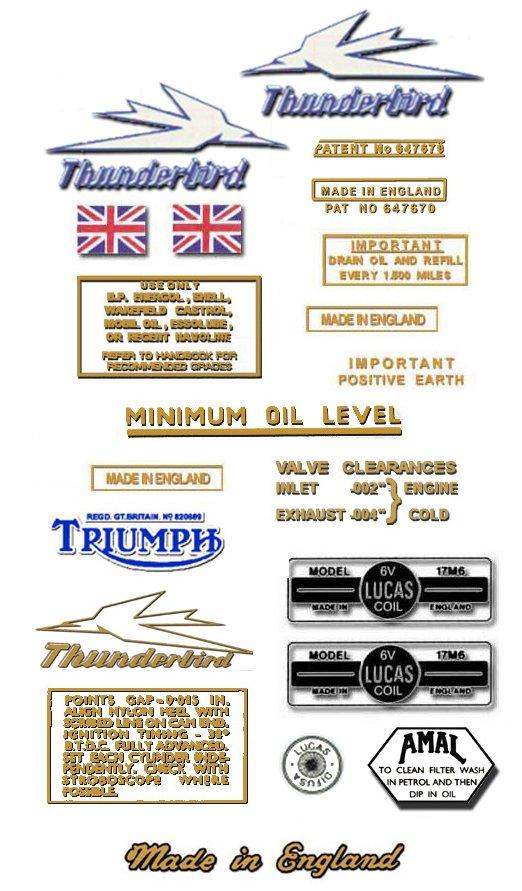 1954-62: Thunderbird - RESTORERS DECALS - Triumph 6T Stickers ( Adhesive Transfers )