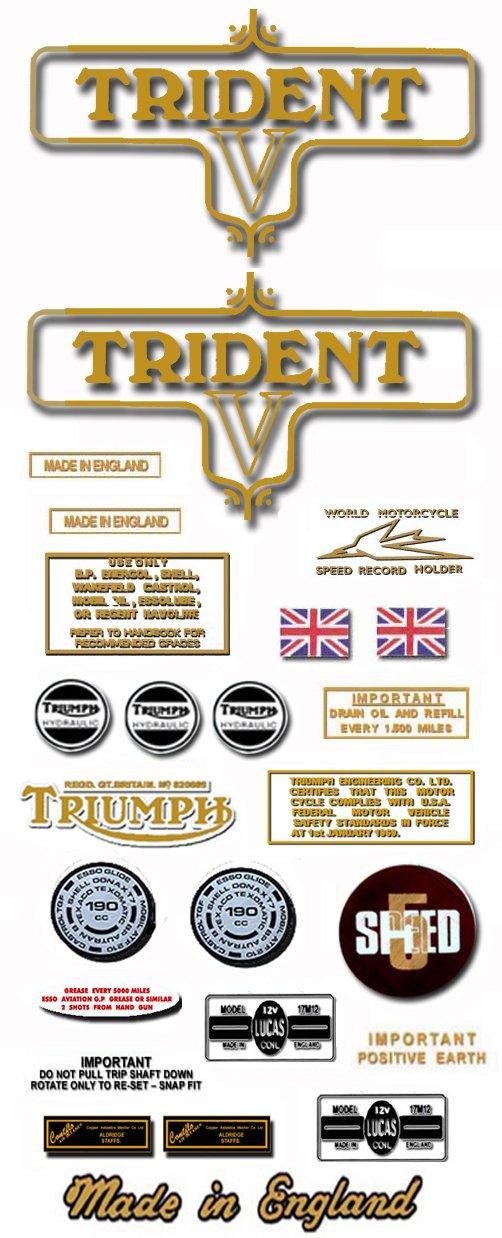 1973: T150V - TRIDENT DECAL SET - Triumph Trident