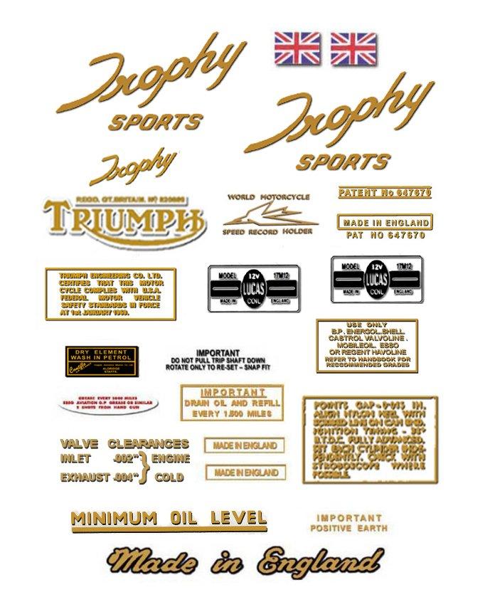 TR6 R: 1963-70 - DECAL SET - Triumph Trophy Sports