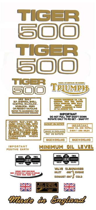 T100S: 1967-70 - DECAL SET- 500cc  Triumph Tiger