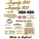 1966-67: Triumph Trophy Decals - RESTORERS DECAL SET- Trophy T100C TR5C 500cc