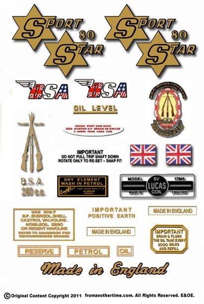1961: BSA SS80 Decals - BSA Sport Star Decals- RESTORERS DECALSET