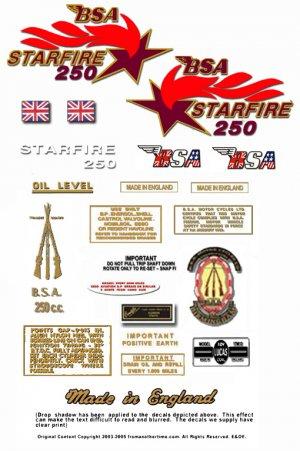 1968 to 69: B25 - BSA Starfire Decals - BSA B25 decals
