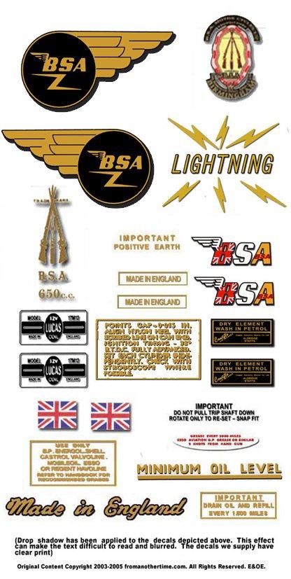 1965-66: BSA Lightning - RESTORERS DECALS - BSA  A65L Stickers (Adhesive Transfers)