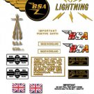 1965-66: BSA Lightning - RESTORERS DECALS - BSA  A65L Stickers (Adhesive Transfers)