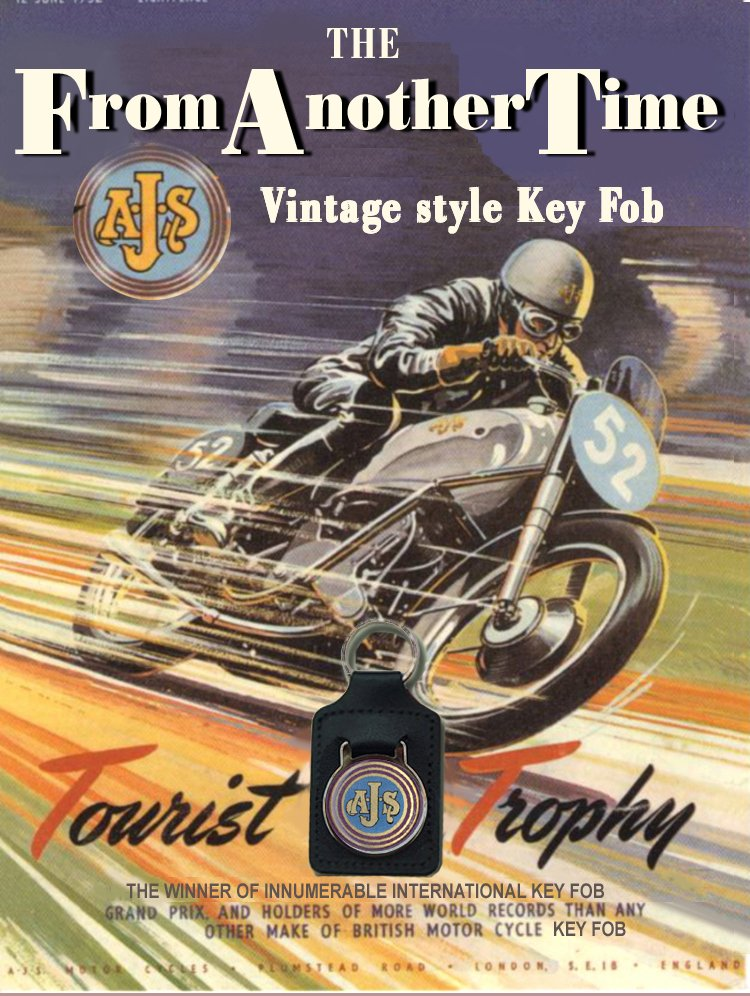 AJS TT - Key Chain (Fob) - Real Leather British Vintage style