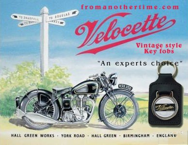 Velocette TT - Key Chain (Fob) - Real Leather British Vintage style
