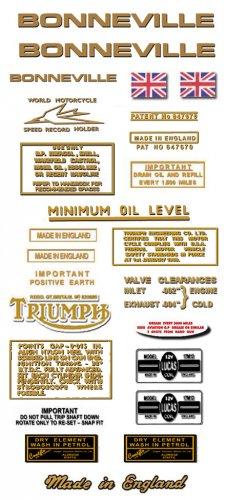 1969-70:  Bonneville T120 T120R Decals - Triumph Bonneville Decal set