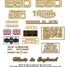 1968-70:Triumph Trophy Decals - RESTORERS DECAL SET -Trophy TR25W  250cc