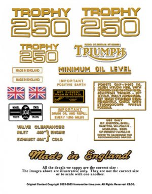 1968-70:Triumph Trophy Decals - RESTORERS DECAL SET -Trophy TR25W 250cc