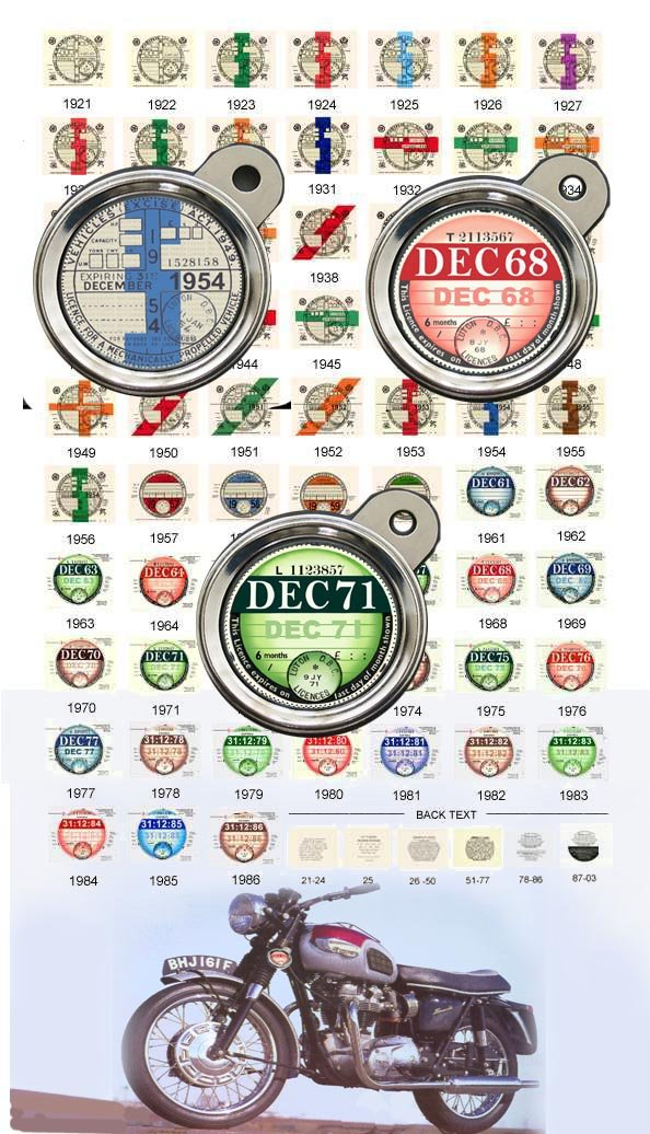 HISTORIC BRITISH ROAD TAX DISC 1921 to 2001 - Blanks for all years. Standard quality