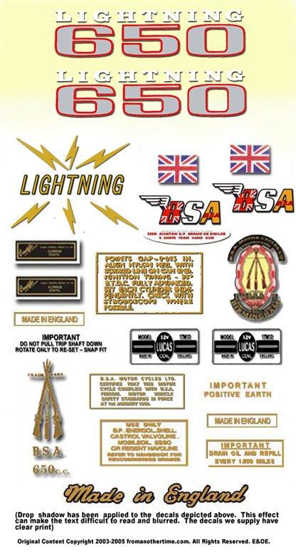 1969: BSA  LIGHTNING RESTORERS DECALSET - BSA A65L Stickers (Adhesive Transfers)