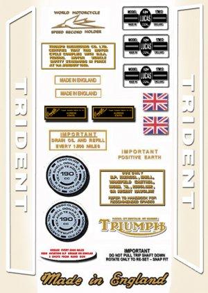 1970: Triumph T150 Trident Decals  - RESTORERS DECAL SET- T150 T160 Trident