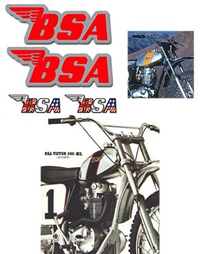 BSA Tank Decals - Red with Silver outline -1968 to 74 Models
